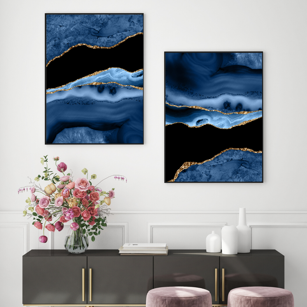 Navy Blue Marble Print Print Sets Marble Posters